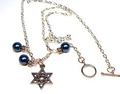 Jewish Star of David Blue Pearl Necklace - pinned by pin4etsy.com