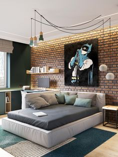 Elegant Scandinavian Style Home With Green Decor - The Prime Life project is an square metre apartment design for a young woman and her son, located in Saint-Petersburg, Russian Federation. The brief from t - Bedroom Loft, Home Bedroom, Kids Bedroom, Bedroom Decor, Master Bedroom, Bedroom Ideas, Elegant Bedroom Design, Design Bedroom, Boys Room Design