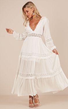 Showpo Ariel maxi dress in white - 14 (XL) Maxi Dresses White Boho Dress, White Maxi Dresses, Lace Dress, Summer Dresses, Beautiful Dresses, Nice Dresses, Casual Dresses, Kelsey Rose, Dress Outfits