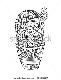 Adult coloring book page design with a picture of a cactus. Coloring book page for adult. Vector illustration in the style of zentangle, doodle, ethnic, tribal design.