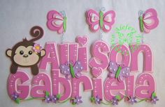 Tierna Monita Cute Alphabet, Alphabet Crafts, Wood Letters, Letters And Numbers, Foam Crafts, Diy And Crafts, Princess Nursery, Bubble Letters, Baby Shawer