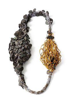 Brooke Marks-Swanson. Necklace: Basket #12, 2016. Leather, horn, copper.