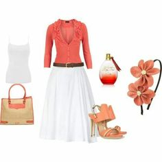 Coral cardigan and shoes, white skirt and tank