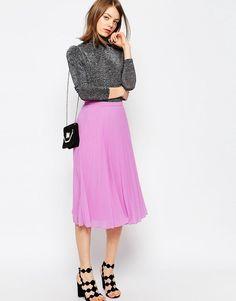 Lilac Pleated Midi Skirt