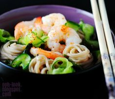 chilled prawn, cucumber, and noodle salad