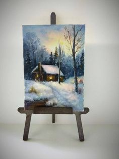 ACEO Winter painting aceo original painting on canvas miniature painting oil painting landscape painting Christmas painting ATC art card by PicNatArt on Etsy https://www.etsy.com/listing/577248837/aceo-winter-painting-aceo-original
