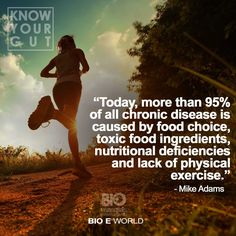 """Today, more than 95% of all chronic disease is caused by food choice, toxic food ingredients, nutritional deficiencies and lack of physical exercise.""  ~Mike Adams"
