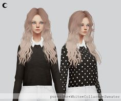 Kalewa-a: White and Black Collared Sweater • Sims 4 Downloads