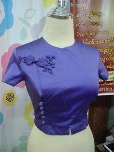 Dress Neck Designs, Blouse Designs, Traditional Dresses Designs, Myanmar Dress Design, Myanmar Traditional Dress, Chinese Clothing, Diy Clothes, Designer Dresses, Evening Dresses
