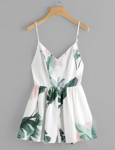 c991ef9c8689 ROMWE offers Jungle Leaf Print Crisscross Back Princess Seam Playsuit    more to fit your fashionable needs. Glowing Line Boutique