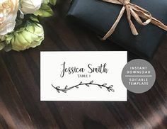 Rustic Place Card Template Kraft Place Card Guest Name
