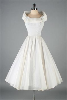 Vintage 1950s Dress Swiss Dot white chiffon