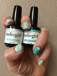 Sea Foam & Fres Air from IndieGirl gel.  Topped w decal, white dots & crystals. Fresh colors, fresh look!