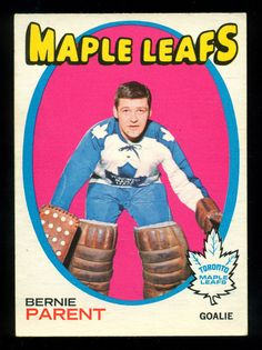 yrs ago, Vic Hadfield chased from net by tossing mask into MSG abyss. Buds held on to beat NYR Hockey Cards, Baseball Cards, Bernie Parent, Maple Leafs Hockey, Hockey Goalie, School Memories, Philadelphia Flyers, Toronto Maple Leafs, Sport