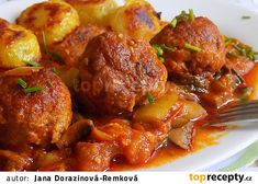 Kouličky z mletého masa pečené v domácím leču recept - TopRecepty.cz Pork, Ethnic Recipes, Sweet, Pork Roulade, Pigs, Pork Chops