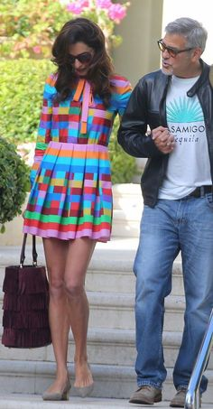 Amal and George Clooney- Cant decide if I really like the dress or not. Oh, it is a Valentino. They often make me feel that way. Amal Clooney, George Clooney, Casual Fall Outfits, Summer Outfits, Streetwear Fashion, Her Style, Celebrity Style, Fashion Dresses, Street Style