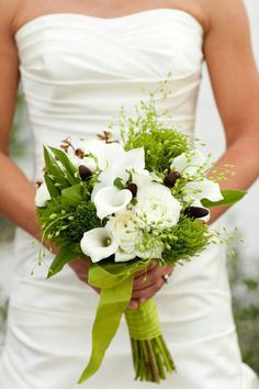 Green & White Bride's Bouquet: White Ranunculus, White Calla Lilies, Green Trick Dianthus, Green String Of Pearl, & Greenery & Foliage^^^^