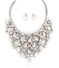 Gorgeous Unique Glass Dangle Tear Drop AB Stones Necklace Earrings Set Fashion  #FashionJewelry