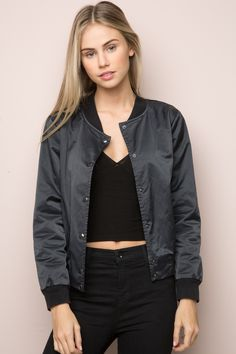 Brandy ♥ Melville | Nella Bomber Jacket - Bomber Jackets - Outerwear - Clothing