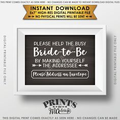 "Address Envelope Bridal Shower Sign, Help the Bride by Addressing an Envelope, Be the Addressee, White Text, Chalkboard Style Instant Download 5x7"" Printable Sign - PRINTSbyMAdesign"