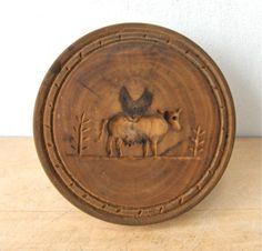 Antique WOODEN COW Butter MOLD Fine American Primitive. From onceupntymetsy.com