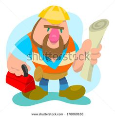 Construction worker ready for work with blueprints and toolbox by AtomicBHB, via Shutterstock