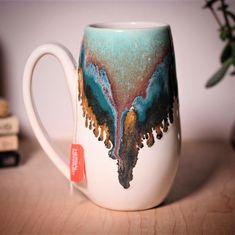 Blue Lagoon mug by Amanda Joy Wells of Sublime Pottery Pottery Art, Pottery Mugs, Glazes For Pottery, Pottery Studio, Ceramic Pottery, Pottery Sculpture, Pottery Ideas, Pottery Classes, Ceramic Clay