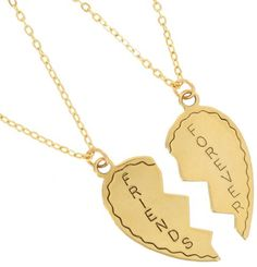 Gold Plated Metal Necklace Bff Set Friends Forever 2 Piece Best Friends Broken Heart Made In Usa