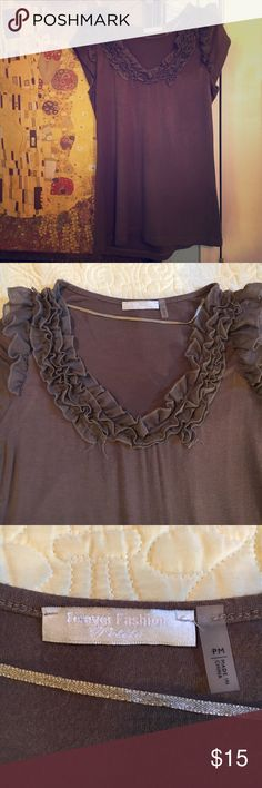 Soft Brown Ruffled shirt Very soft and comfortable brown shirt. Forever Fashion Tops Blouses