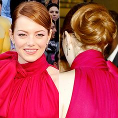 "The Best Oscar Hairstyles (From Every Angle!) Emma Stone ""I didn't want to compete with the high neck of Emma's dress, but I felt like I could really have fun in the back,"" Couture Colour hairstylist Mara Roszak told us of the star's twisty bun Wedding Hair And Makeup, Wedding Updo, Wedding Beauty, Hair Makeup, Oscar Hairstyles, Wedding Hairstyles, Emma Stone Oscars, Emma Stone Hair, Red Carpet Hair"