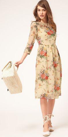 ASOS | Midi Dress with Rose Print
