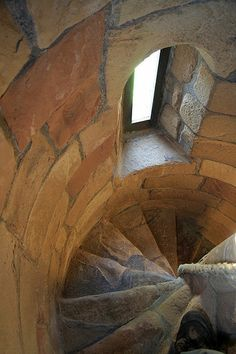 A spiral stair at Jedburgh Abbey - A rope is provided as a handrail - Built in Scotland's border country it was established as a priory of Augustinian canons around 1138, the Protestant Reformation of 1560 led to Jedburgh's demise as a monastic institution. (orig. pinner's comment)