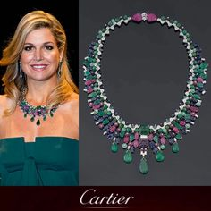 Queen Maxima of Netherlands wearing the fabulous TuttiFrutti necklace. Cartier Necklace, Cartier Jewelry, Antique Jewelry, Jewelery, Royal Tiaras, Tiaras And Crowns, Royal Jewelry, Queen Maxima, Vintage Turquoise