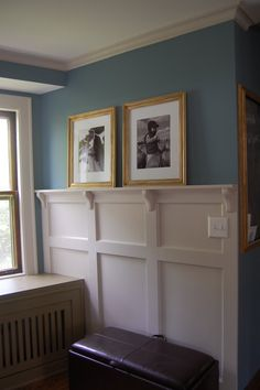 Add wainscoting a bit higher than half way up from the floor, add a mantle style shelf and brackets - LOVE IT!  Great in a family room, entry hall, bedroom, bathroom.