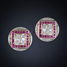 Art Deco ruby & diamond earrings- gooooooooooooo! want!