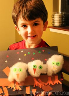 Easy Owl Craft for Kids - Make your own line-up of owls, using cotton batting - Queen Bee Coupons & Savings