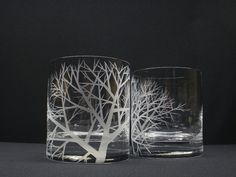 2 Double Old Fashioned Glasses . Hand Engraved 'Reaching Branches' . Crystal Glass Barware . Whiskey Glass Father of The Bride Gift on Etsy, Sold