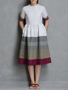 Buy Ecru Grey Button Detailed Mandarin Collar Linen Dress by Doodlage Apparel Tops & Dresses Online at Jaypore.com
