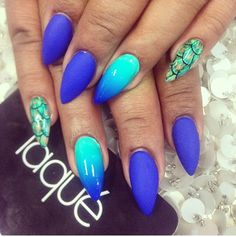 Blue Teal Green Ombre Snake Skin Nails Hot