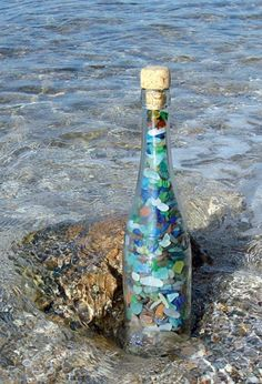 Sea glass- can put smaller pieces in a bottle like this