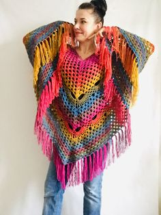 Your place to buy and sell all things handmade Crochet Poncho Patterns, Crochet Shawls And Wraps, Shawl Patterns, Crochet Ideas, Crochet Projects, Knit Crochet, Crochet Hats, Knitting Bags, Hand Knitting