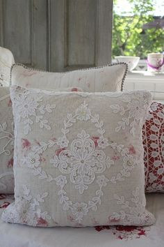 Shabby Chic ~~  Nice idea.....pick a fabric you like and put layer of sheer lace over top.