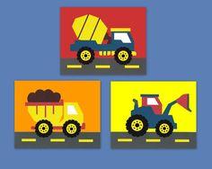 construction theme transportation theme truck by LullabyArt, $33.00