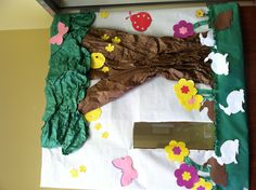 Spring bulletin board. Door decoration. Spring ideas