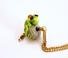 Sammy the Green Glass Frog Bead Pendant on 14 by blancheandguy, $43.00