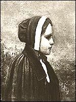 The first witch to have her fate decided by the Court of Oyer and Terminer was Bridget Bishop, although she was one of the last people arrested. Bishop's most evil spell was to instill in the men of Salem the deadly sin of Lust, because she was an attractive young woman who flouted the Puritan morals by dressing in a modest black dress with a scarlet bodice. Her shape visited the men of Salem village in the middle of the night and beckoned them toward sin.