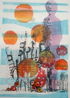 Following my shadows - Monoprint by Sophie Fordham