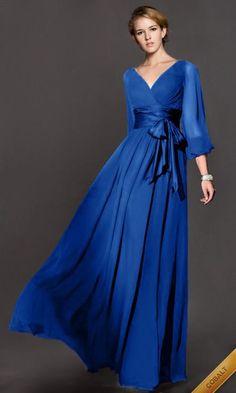 Frete grátis venda quente 2016 V decote manga comprida Chiffon A linha mãe do Vintage da noiva vestido de renda