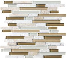 A nice neutral mix of browns, white and cream colors come together in this delightful blend of random glass and travertine strips. Bamboo is also available in a 5/8 x...