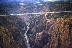"""Highest suspension bridge in the world. Dizzying height. As I walked accross I thought, """"If I fell from this height, I would have time to write a suicide note, and poison myself before I hit the bottom.""""  Royal Gorge, Colorado"""